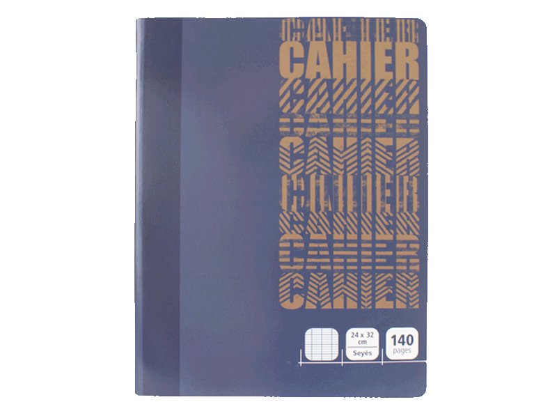 Cahier piqure - 24x32 cm - 140 pages - Grands carreaux
