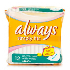Serviettes hygieniques Simply Fits normal plus ALWAYS Ultra,12 unites
