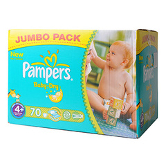 Pampers baby dry jumbo maxi + x70 taille 4 +