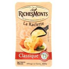 Raclette au lait pasteurisé RICHES MONTS, 26%MG, 16 tranches, 400g