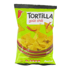 Auchan chips tortilla chili 1 x 100g