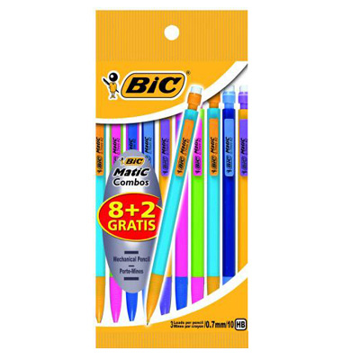 8 + 2 porte mines bic 'matic combos' 0.7mm, le blister