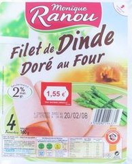 Fin Plaisir, filet de poulet dore au four, traite en salaison, qualite choix, x4 tranches, le paquet,160g