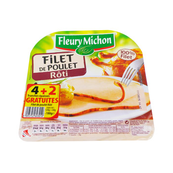 Fleury michon 4 tranches filet de poulet roti