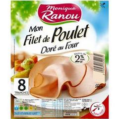 Monique Ranou, Mon Filet de Poulet dore au four, la barquette de 8 tranches - 280 g