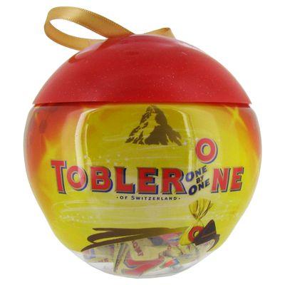 Boule de noel garnie de chocolats au lait toblerone one by one