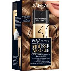 Coloration permanente Mousse Absolue PREFERENCE, blond dore etincellant n°730