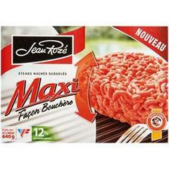 Maxi steaks haches facon bouchere, 12% mg, les 4 steak de 160g