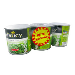 D'Aucy haricots verts extra fins 3x220g