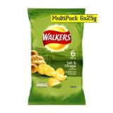 Walkers Salt & Vinegar Crisps 6 x 25g