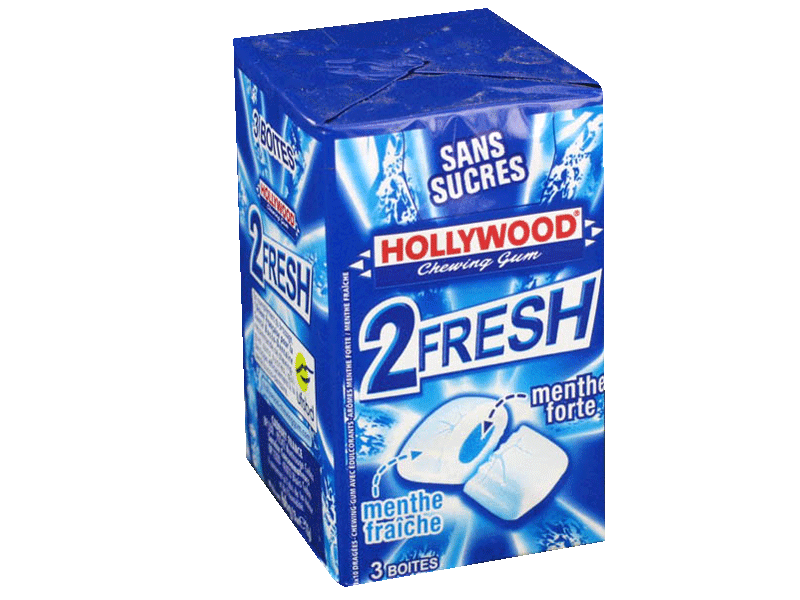 Chewing gums sans sucre menthe forte-menthe fraiche 2Fresh HOLLYWOOD dragees, 3x33g