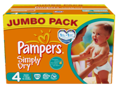 Couches PAMPERS SIMPLY DRY JUMBO Taille 4 X80 7 - 18 kg