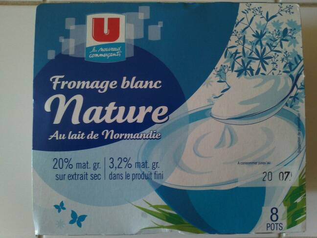 Fromage blanc nature U, 3,2%MG, 8x100g