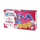 Mini biscuits fourrés ronds fraise U MAT & LOU 4x6 168g
