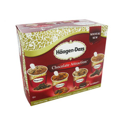 HAAGEN DAZS SPECIALITE INDIVIDUELLE MINI-CUPS CLASSIQUE CHOCOLATE ATTRACTION X4 400ML