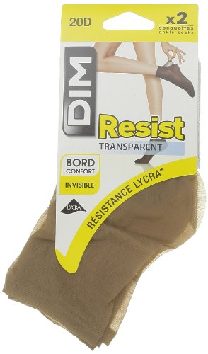 Dim, Beauty Resist - Socquettes transparent, cannelle, taille 35/41, les 2 paires