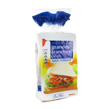 Pain de mie nature grandes tranches - 21 tranches Special sandwich.