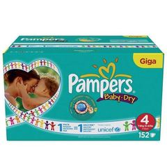 Pampers - 81322396 - Baby Dry Couches - Taille 4 Maxi (7-18 kg) Unisexe - Gigapack x152