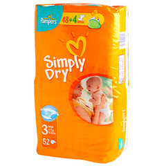 Couches Pampers Simply Dry Geant T3 4-9kg x56