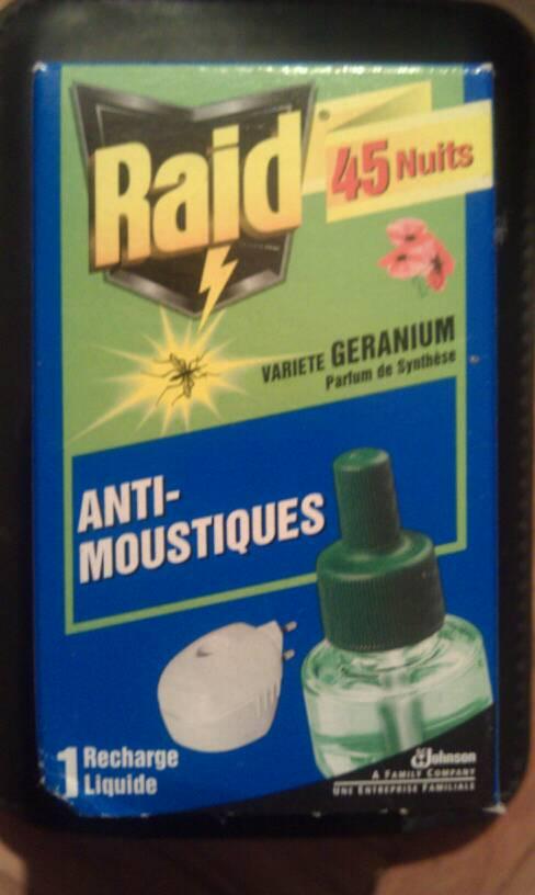 raid recharge liquide pour diffuseur electrique anti moustiques 45 nuits variete geranium la. Black Bedroom Furniture Sets. Home Design Ideas