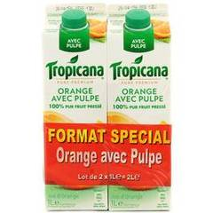 Tropicana pure premium orange avec pulpe 2x1l