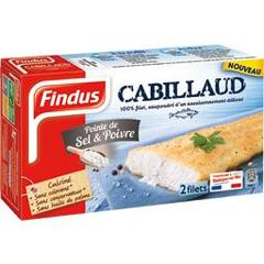 Filets de cabillaud assaisonnes FINDUS, 2 unites, 260g