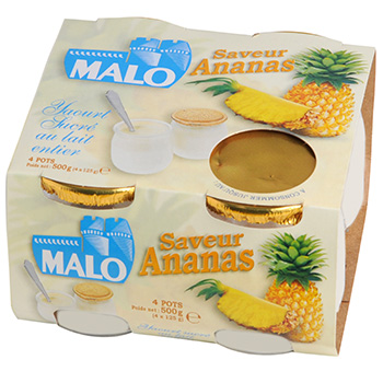 Yaourt Malo Ananas lait entier 4x125g