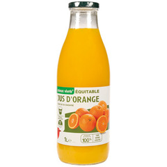 Auchan jus orange a base de concentre Max Havelaar 1l