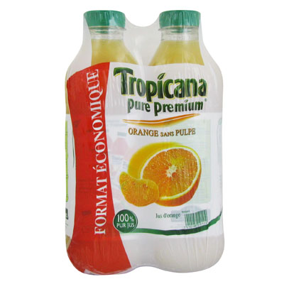 Orange sans pulpe 2 x 1.5 L 1 achete = le 2eme a -50%