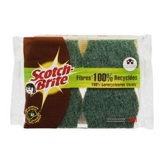 Eponges grattantes en fibres 100% recyclees SCOTCH BRITE, 2 unites