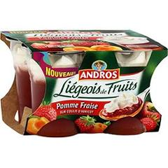 Andros liegeois pomme fraise sur coulis d'abricot 4x100g