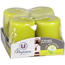 BOUGIE U MAISON PARFUMEE THE CITRUS 40X55MM VERT OLIVE X4