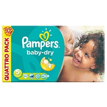 Pampers baby dry quattropack x92 taille 5