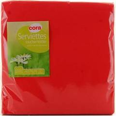 Serviettes papier toucher textile rouges