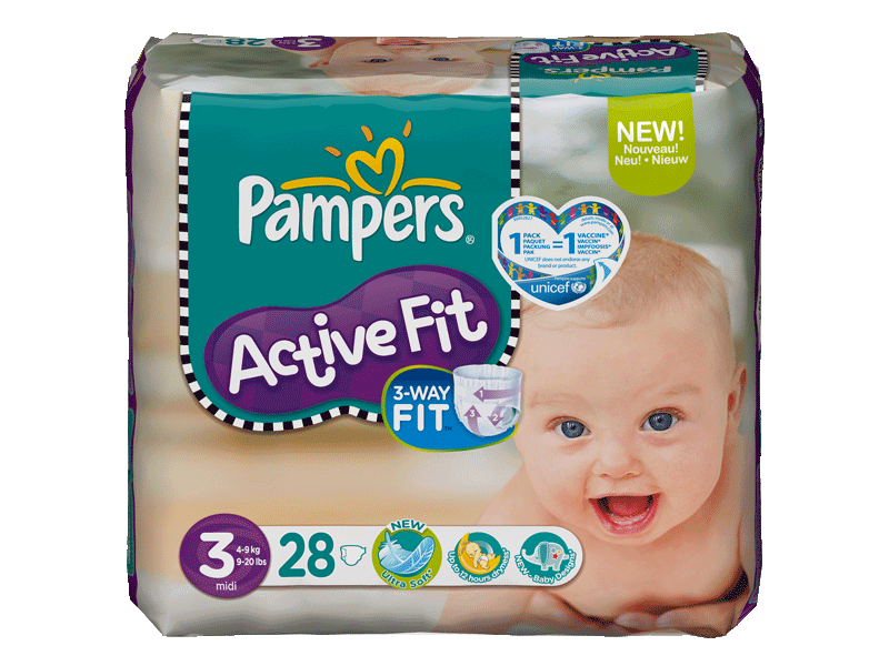 Couches Active Fit midi PAMPERS, taille 3, 3 a 6kg, 28 unites