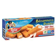 Batonnets de filets de colin panes IGLO, 15 pieces, 450g