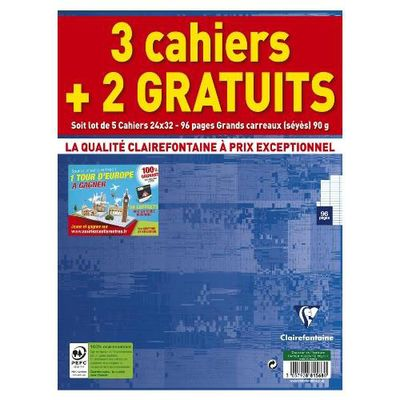 Cahiers 24 x 32 cm grands carreaux