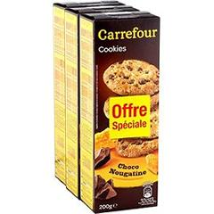 Biscuits Cookies choco nougatine Carrefour
