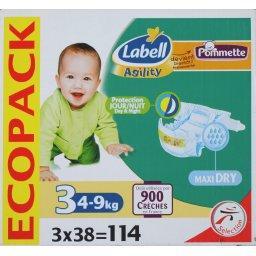 Pommette Couches Agility Dry Taille 3 4 9 Kg Le Paquet De 32