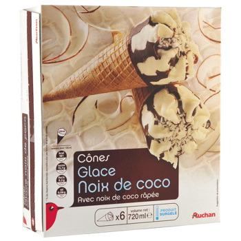 auchan cones coco x6 720ml tous les produits glaces prixing. Black Bedroom Furniture Sets. Home Design Ideas