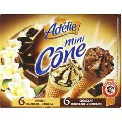 Mini cone vanille x6, chocolat x6, 12 x 30ml, 360ml