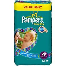 Couches Baby Dry PAMPERS, taille 4 + , 9 a 20kg, 56 unites