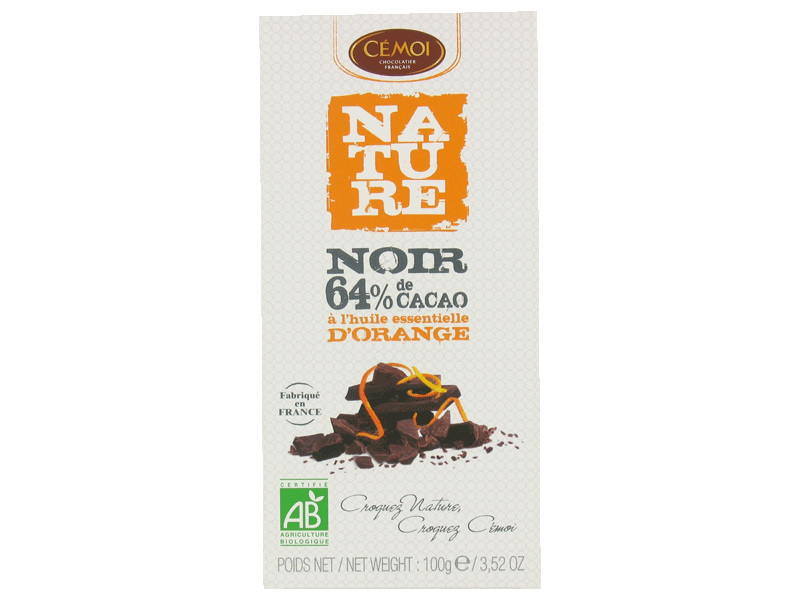 Chocolat noir Cemoi 64% cacao Orange bio Equitable 100g