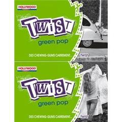 Hollywood, Chewing-gum twist sans sucres green pop, les etuis