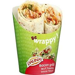 Sandwich Be Wrappy bacon grille, oeuf, tomate et sauce yaourt DAUNAT, 180g
