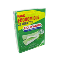 Chewings gum sans sucre menthe verte HOLLYWOOD, 7 tablettes, 95g