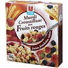 Muesli croustillant aux fruits rouges U, 500g