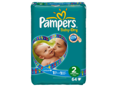 Couches Baby-Dry mini taille 2 (3-6kg) Pampers sac geant x64