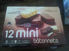 12 Mini Bâtonnets vanille/chocolat 540ml