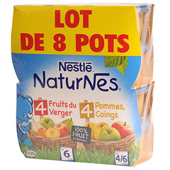 Nestle natures fruits du verger + pomme coings 8x130g